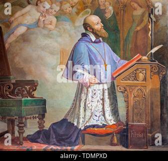 CATANIA, ITALY - APRIL 8, 2018: The painting of St. Francis de Sales in the church Chiesa di San Filipo Neri (1937). - Stock Image
