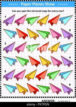 IQ training visual puzzle with colorful ppaper planes: Match the pairs - find the exact mirror copy for every row. Answer included. - Stock Image