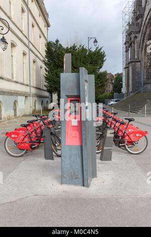 Rental bikes at a bike rental station in Lille, France - Stock Image