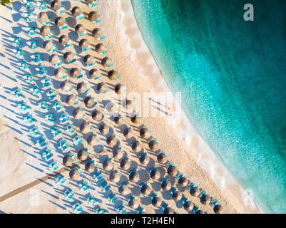 Morning at Marble Beach (Saliara Beach) beautiful white sand beach in Greece - Stock Image