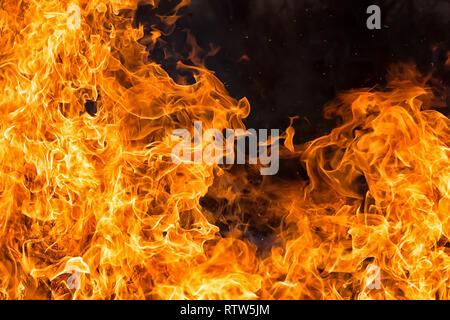 intense orange fire flames textureon black background - Stock Image