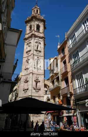 The Santa Catalina church and bell tower, Placa Santa Catalina, Valencia, Spain. The bell tower has a baroque style and dates from the 17th century. - Stock Image