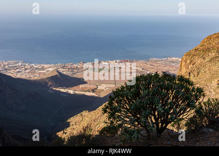 Aerial view over the Costa Adeje coastline from Ifonche in the mountains above Arona, Tenerife, Canary Islands, Spain - Stock Image