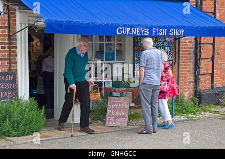 upmarket fish shop in the trendy North Norfolk village of Burnham Market - Stock Image