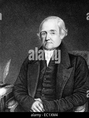Noah Webster (1758-1843) on engraving from 1835. - Stock Image