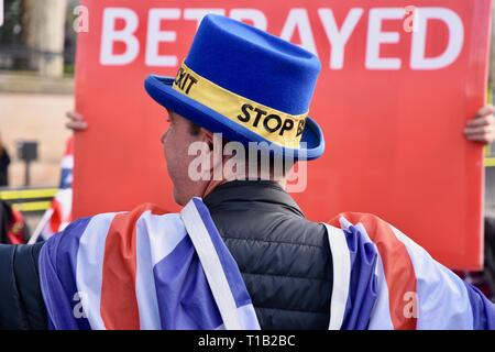 London, UK. 25th Mar 2019. Steve Bray, Activist, SODEM, Remain Protest, Houses of Parliament, Westminster, London. UK Credit: michael melia/Alamy Live News - Stock Image