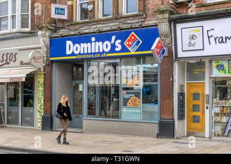 A branch of Domino's Pizza in Bromley, South London. - Stock Image