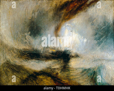 JMW Turner, Snow Storm, Steam Boat off a Harbour's Mouth making Signals in Shallow Water, and going by the Lead, painting, c. 1842 - Stock Image