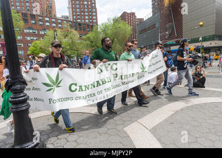 New York, NY, USA - 5 May 2018 - Million Marijuana March Cannabis Parade arrives in Union Square. Pot activists marched down Broadway from  Greeley Square to Union Square calling on New York State lawmakers to legalize marijuana for recreational use. CREDIT ©Stacy Walsh Rosenstock/Alamy Live News - Stock Image