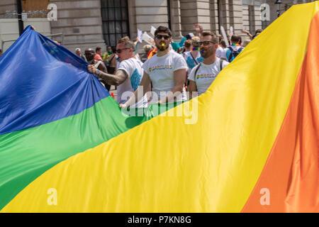 London, UK. 7th July 2018.  Rainbow flag at Pride in London Parade 2018  Credit Ian Davidson/Alamy Live News - Stock Image