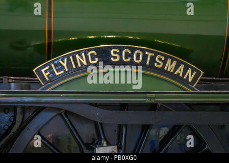 Nameplate of Ex LNER class A3 express passenger steam locomotive Flying Scotsman on display at Locomotion National Railway Museum Shildon - Stock Image