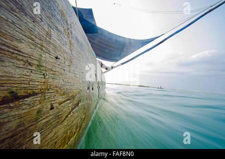 Wooden sailing boat, Sierra Leone. - Stock Image