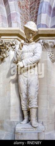 Statue of Carl Linnaeus in Oxford Natural History Museum. - Stock Image