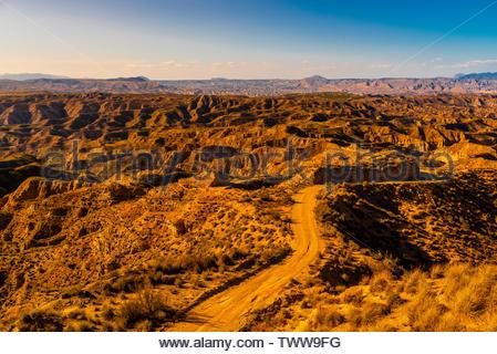 Canyons, Gorafe Depression, Gorafe Megalithic Park, near Gorofe, Granada Province, Andalusia, Spain. - Stock Image