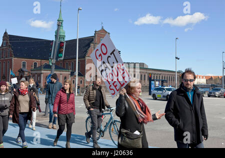 The March for Science in Copenhagen arrives at Christiansborg Castle Square after a two hours march through Copenhagen - Stock Image