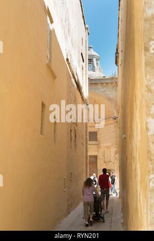 Small street in Mdina, Malta, - Stock Image