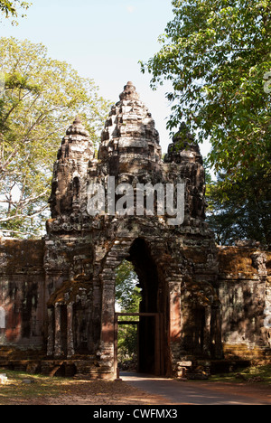 Early morning, south side of Angkor Thom North Gate, Angkor, Cambodia - Stock Image