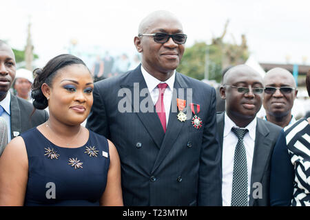 Abidjan, Ivory Coast - August 3, 2017: Authority arrives at the end-of-cycle ceremony for marine students - Stock Image