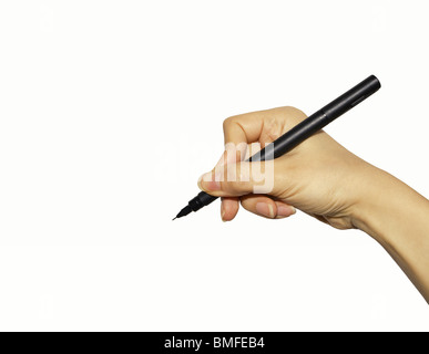 Hand with pen - Stock Image