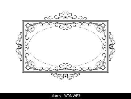 Black rectangle shaped frame of strokes, with a pattern of black calligraphic curves and curls on a white background - Stock Image
