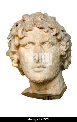 British Museum, Bloomsbury, London, England, UK. Marble head of a 'victorious poet'. (Hellenistic - c150-50 BC) Ivy wreath in his long hair, symbol of - Stock Image