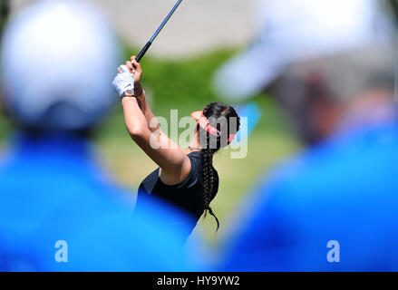 Rancho Mirage, California, USA. 2nd Apr, 2017. Michelle Wie on the driving range during the final round of the ANA - Stock Image