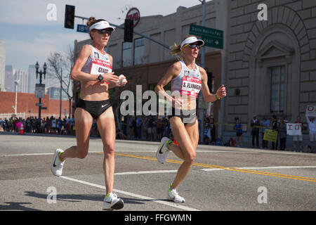 LA, California, USA. 13th Feb, 2016. Amy Cragg and Shalane  Flanagan lead the women's race in the  U.S. Olympic - Stock Image