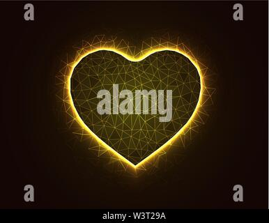 Heart symbol magic low poly model, love polygonal wireframe vector illustration on dark yellow background - Stock Image