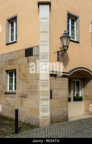 High Water Markings Of The Elbe In The Town Of Königsstein - Stock Image