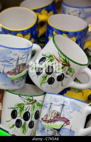 Portugal, Algarve, Praia Da Rocha, Souvenir Mugs - Stock Image