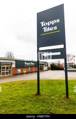 Topps Tiles trade tiling store shop building sign - Stock Image