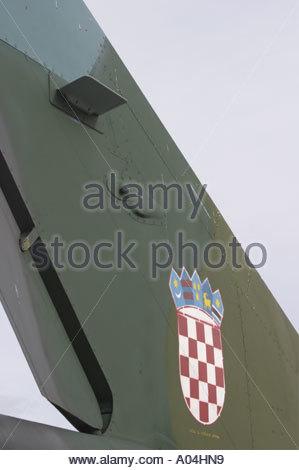 Pula Croatia Air show 2005 MiG21 BIS modernized Croatian Air Force tail detail with Croatian national insignia - Stock Image