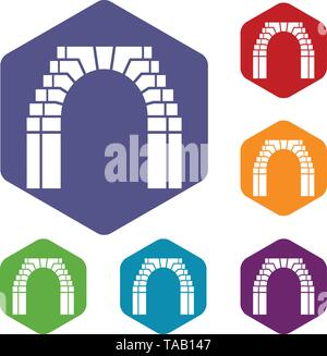 Brick arch icons vector hexahedron - Stock Image