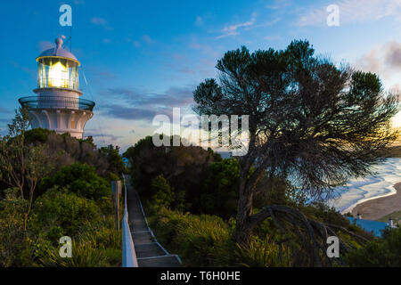 Seal Rocks, NSW, Australia-April 20, 2019: Sunset nature view over the beach from the lighthouse at Sugarloaf Point Seal Rocks, Myall Lakes National P - Stock Image