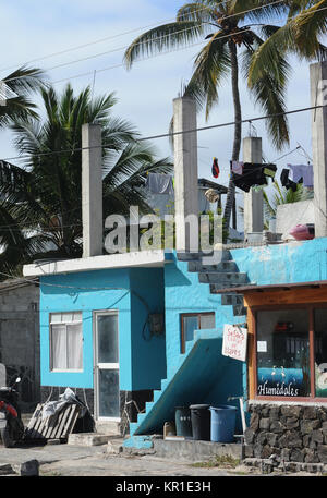 New buildings are appearing in the areas of Puerto Villamil catering for tourists. Puerto Villamil, Isabela, Galapagos, - Stock Image