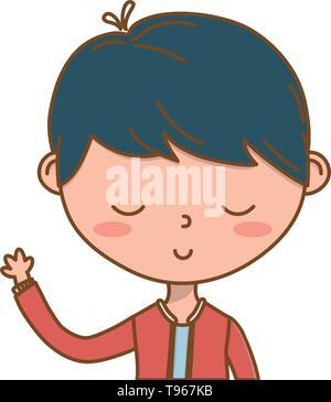 Stylish boy blushing cartoon outfit jacket waving hello portrait  isolated vector illustration graphic design - Stock Image