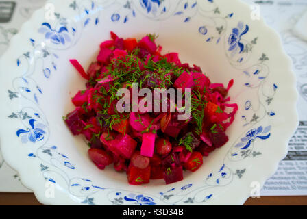 Vinegret, Russian beetroot salad, Moscow, Russia - Stock Image