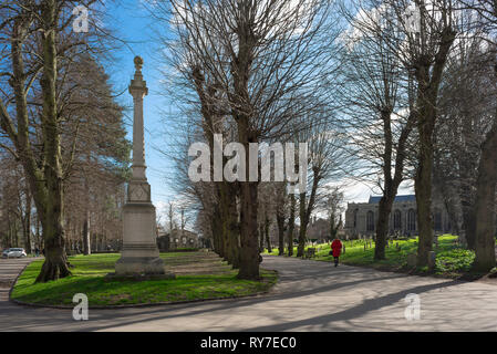 Bury St Edmunds UK, view of the Great Churchyard in Bury St Edmunds with the Memorial to Protestant Martyrs of 1555-58 on the left, Suffolk,England,UK - Stock Image