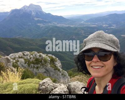 Woman on the Camino de Santiago trail - Stock Image