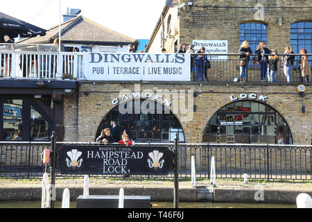 Dingwalls live music and bar venue by Regents Canal at Camden Lock, in spring sunshine, in north London, UK - Stock Image