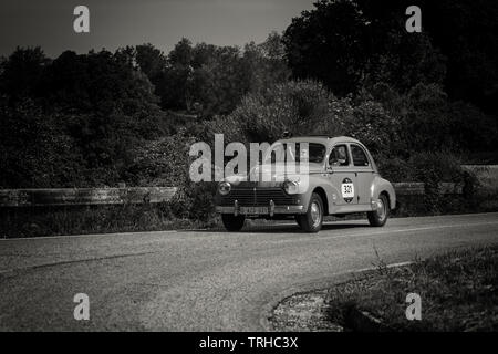 PESARO COLLE SAN BARTOLO , ITALY - MAY 17 - 2018 : PEUGEOT 203 195 on an old racing car in rally Mille Miglia 2018 the famous italian historical race - Stock Image