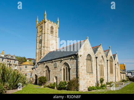 The medieval church of St Ia from the churchyard, St Ives, Cornwall, Egland - Stock Image