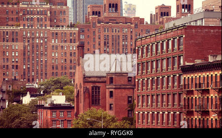 New York City old architecture, color toning applied, USA. - Stock Image