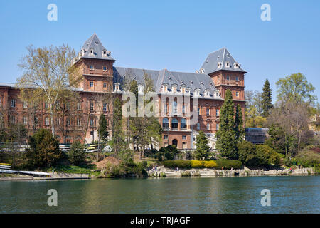 TURIN, ITALY - MARCH 31, 2019: Valentino castle and Po river in a sunny day, clear blue sky in Piedmont, Turin, Italy. - Stock Image