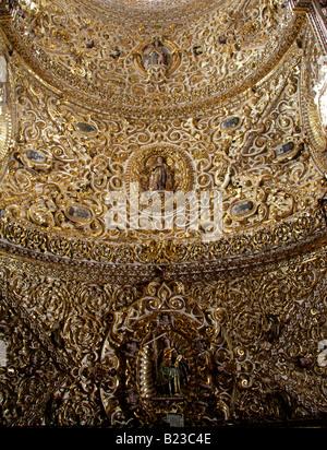 Detail of the Ceiling in the Interior of Saint Domingo Guzman Church, Puebla City, Mexico - Stock Image