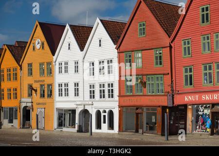 Colourful merchants houses Bryggen Bergen Norway - Stock Image