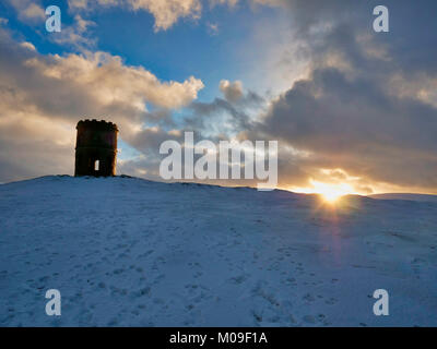 Buxton, Derbyshire, UK. 19th January, 2018. UK Weather: Sunset over Solomon's Temple Buxton Derbyshire, also - Stock Image