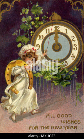 New Year 's Girl with Clock - Stock Image