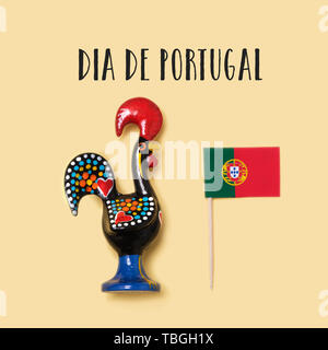 the text Dia de Portugal, the national day of Portugal written in Portuguese, a Rooster of Barcelos, the emblem of Portugal, and a Portuguese flag on  - Stock Image