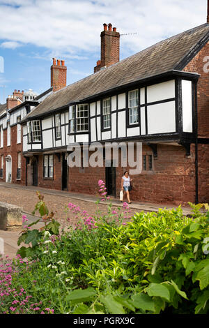 UK, England, Devon, Exeter, Cathedral Close, jettied ancient houses - Stock Image